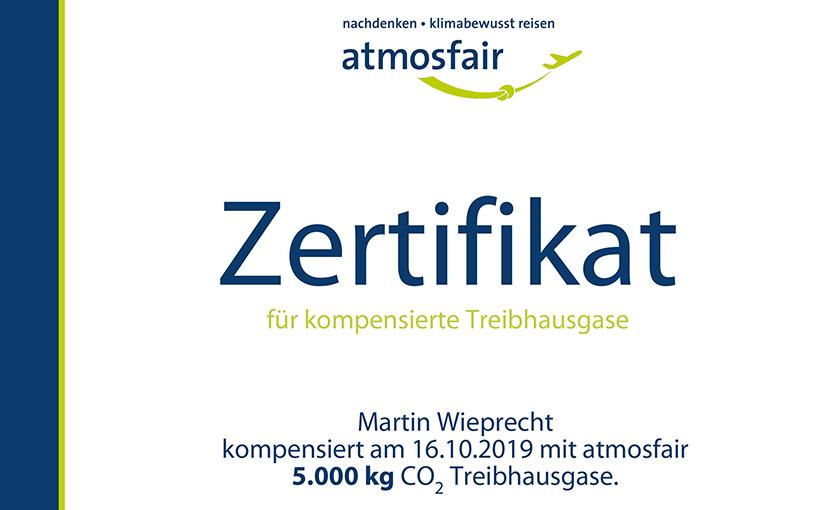 atmosfair Zertifikat